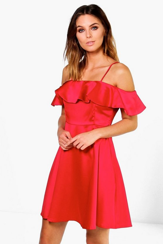 Womens Red Suki Satin Off The Shoulder Frill Skater Dress