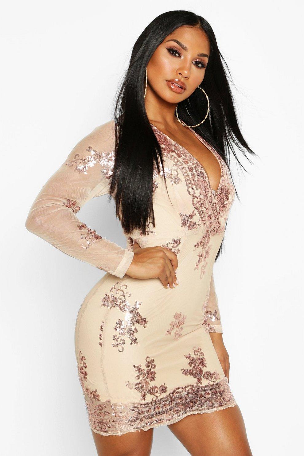 128bc6e54 Boutique Sequin Print Mesh Bodycon Dress