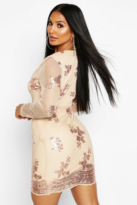 Boutique  Sequin Print Mesh Bodycon Dress