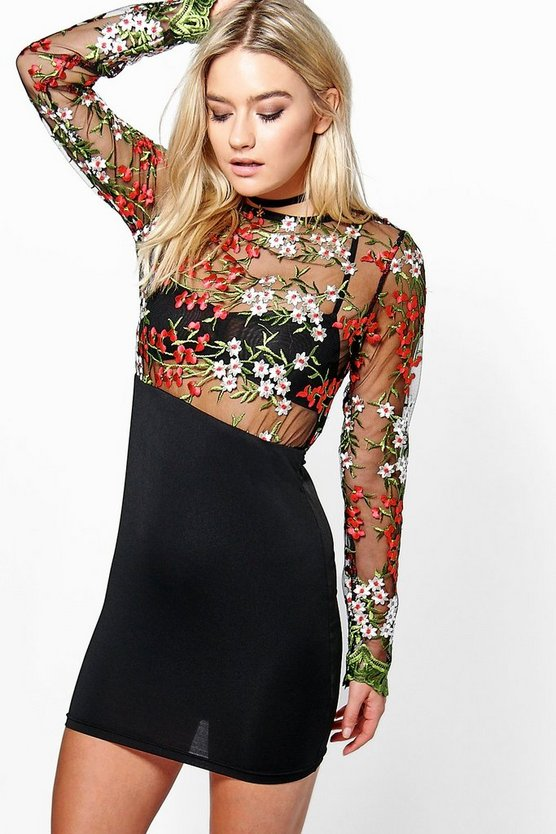 Boutique Cleo Embroidered Midi Bodycon Dress