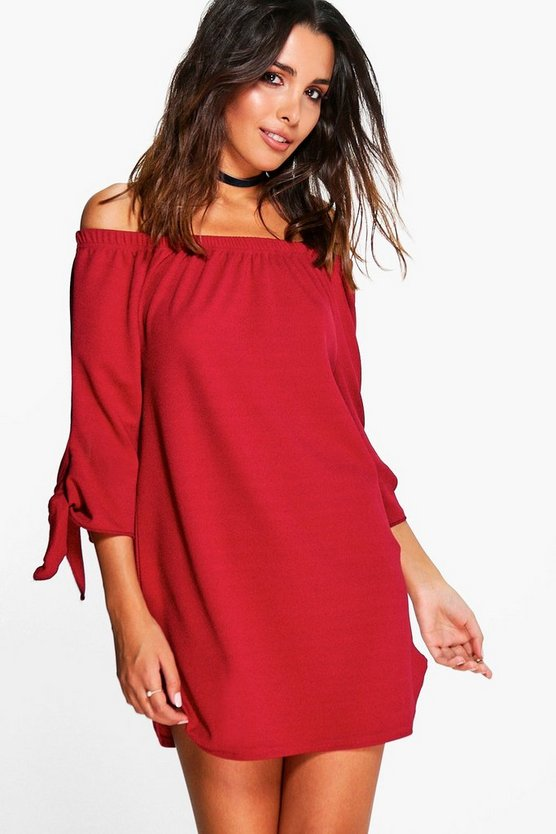 Off The Shoulder Tie Sleeve Shift Dress