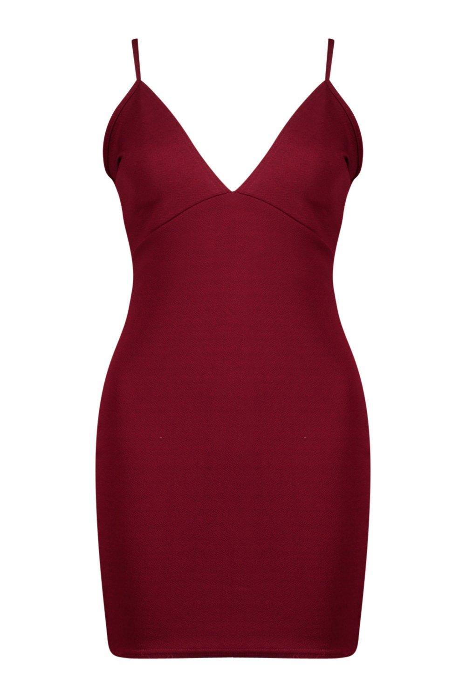 8b3bc2c659 Boohoo Womens Cara Strappy Plunge Neck Bodycon Dress