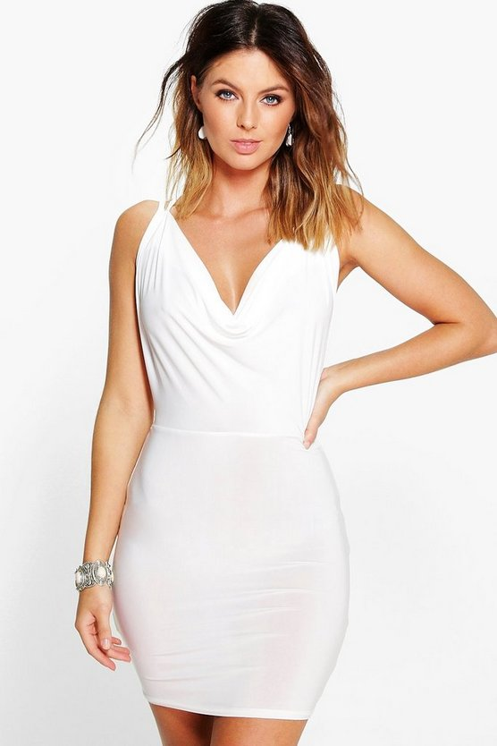 Womens Ivory Enya Cowl Neck Cross Back Bodycon Dress