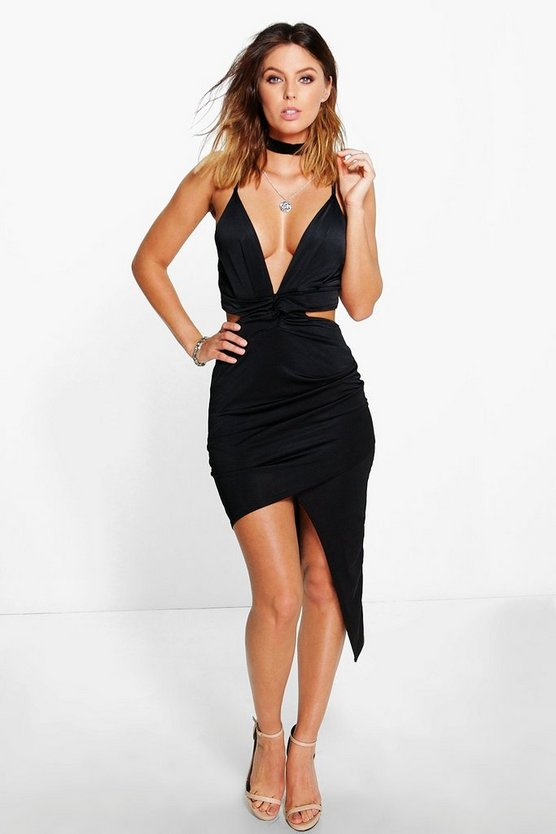 Emma Strappy Cut Out Asymetric Bodycon Dress