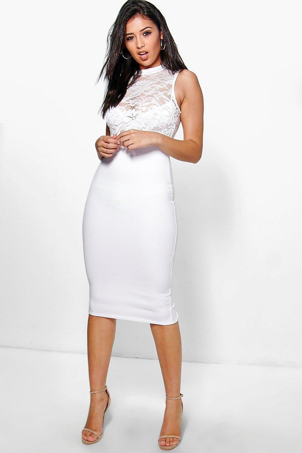 3bc5d7c20e0c Lucy Lace Top Ribbed Midi Dress | Boohoo