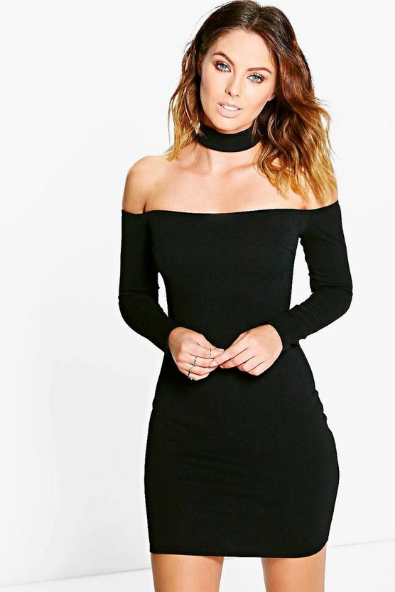 Womens Black Carley Choker Off Shoulder Bodycon Dress