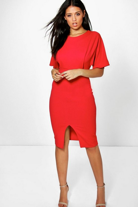 Cally Crepe Front Split Detail Pencil Dress