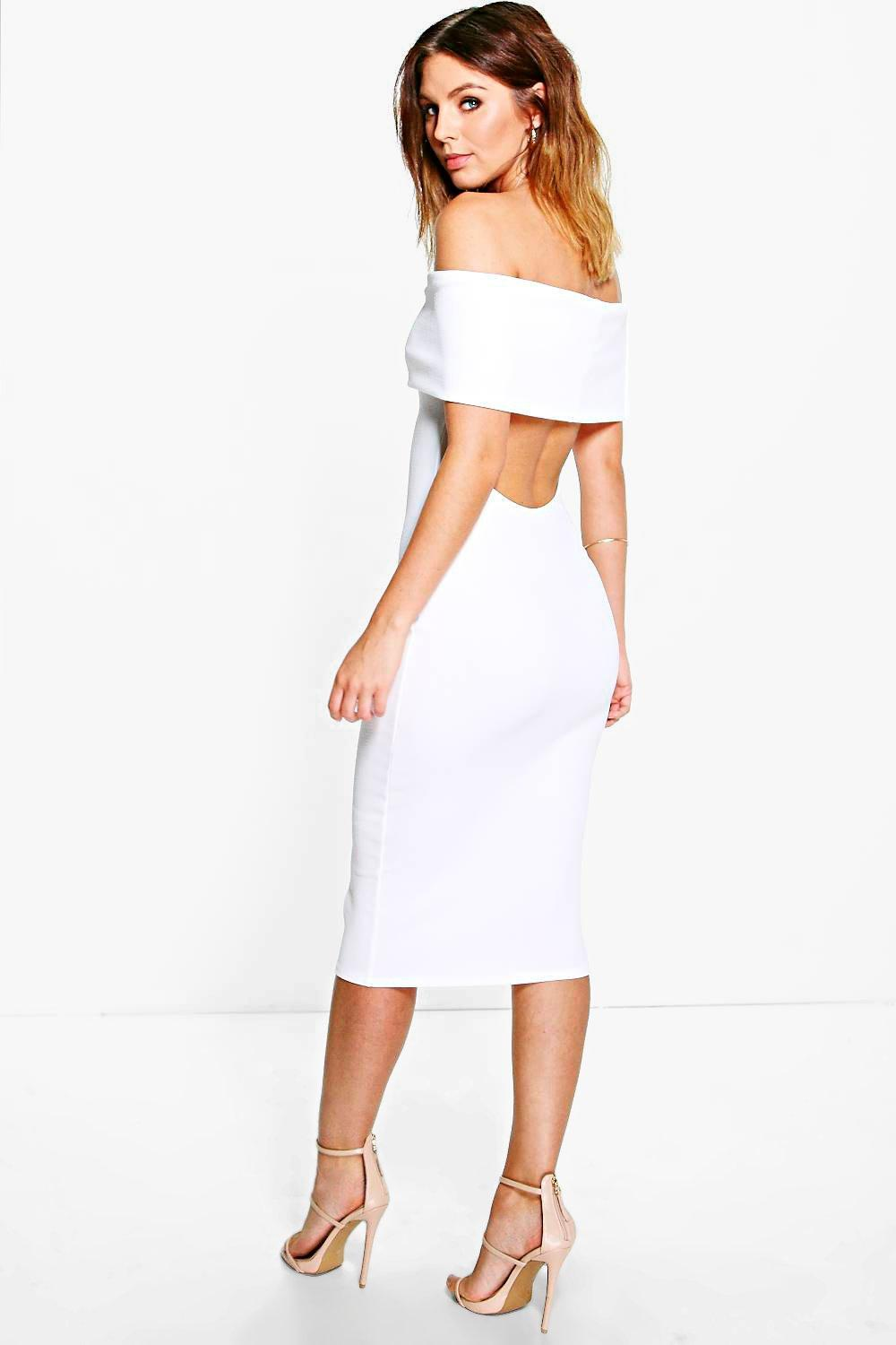 75cae335268d Oversized Bardot Open Back Midi Dress | Boohoo