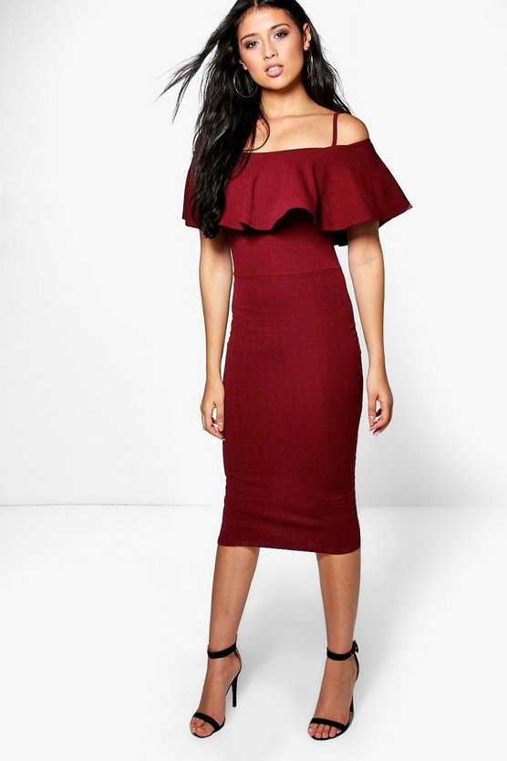Strappy Off Shoulder Midi Bodycon Dress
