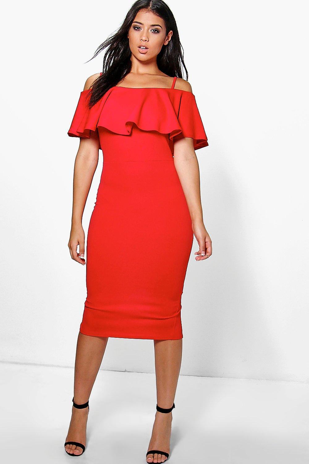 7173a4672141 Strappy Off Shoulder Midi Bodycon Dress. Hover to zoom