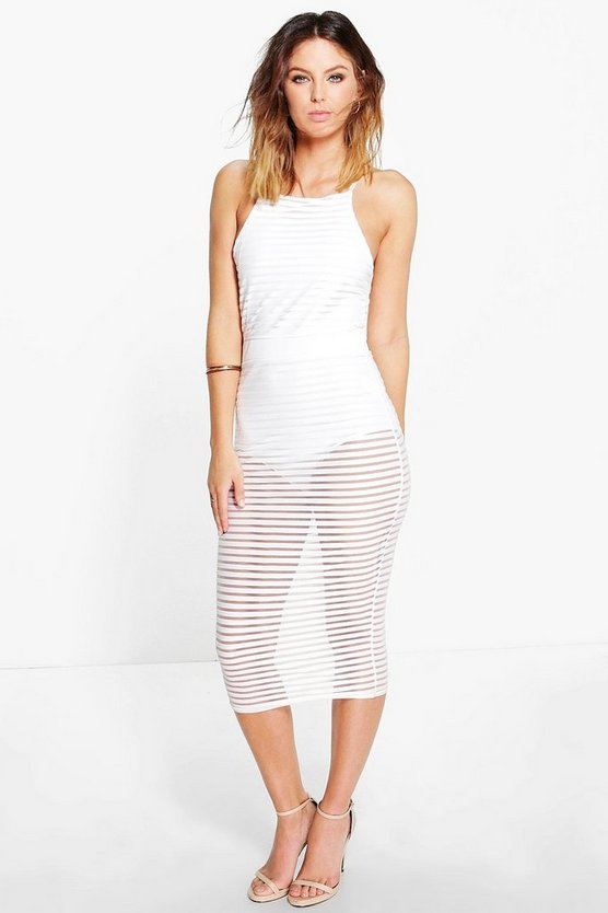 Womens Ivory Eve Stripe Mesh Midi With Bodysuit Dress