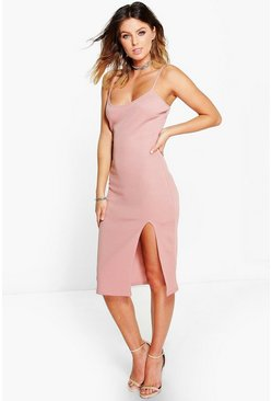 Womens Ida Thigh Split Ribbed Midi Dress