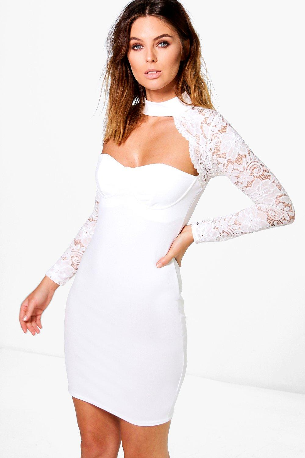 Eloise Scallop Lace Choker Bodycon Dress Boohoo