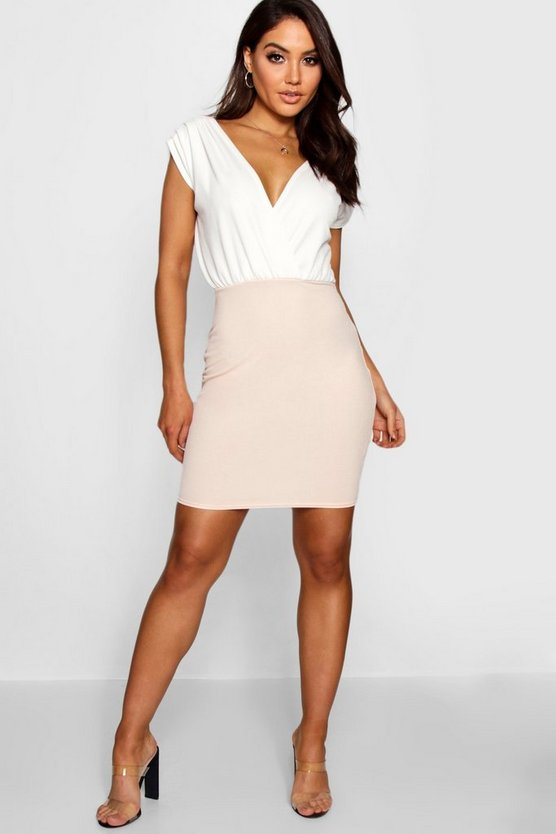 Blush Contrast Colour Wrap Dress