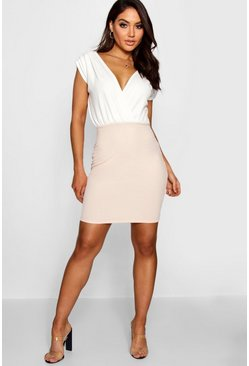Womens Blush Contrast Colour Wrap Dress