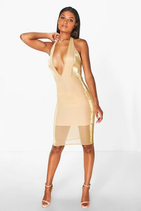 Womens Gold Natalia Halterneck Metallic Midi Dress
