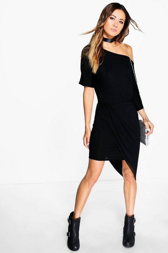 Verity Off Shoulder Ruched Wrap Dress