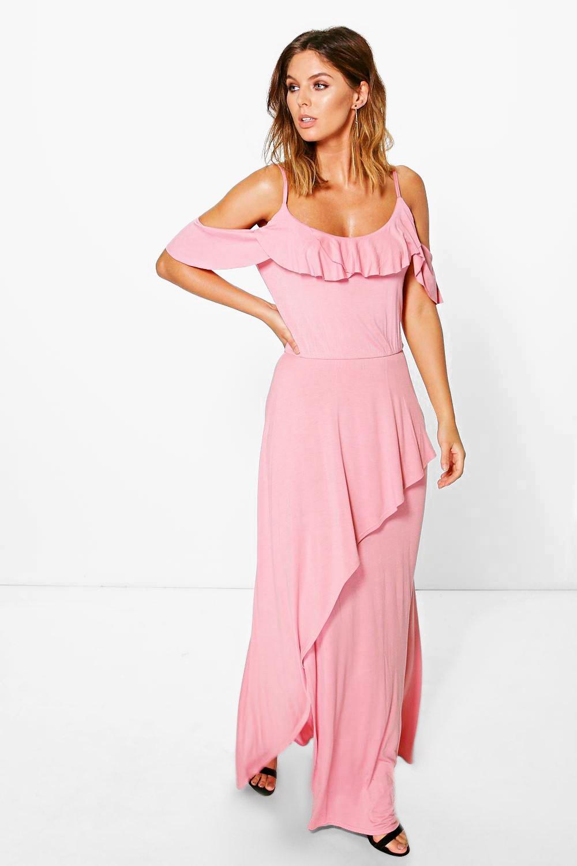 0ffbb5acbd Abbey Ruffle Cold Shoulder Maxi Dress | Boohoo