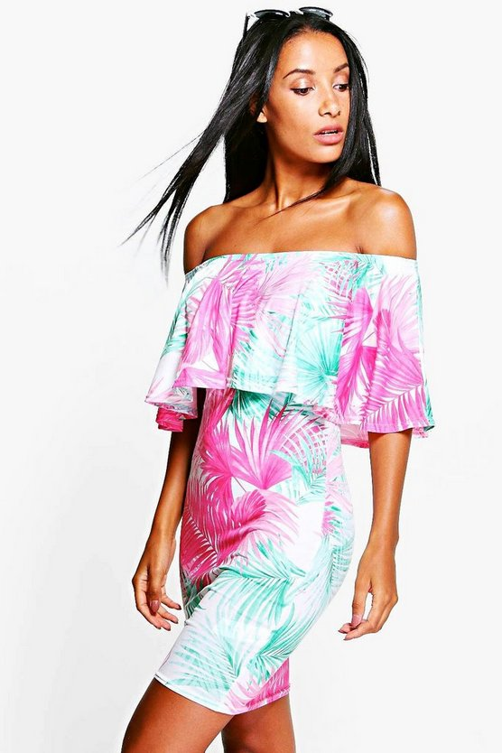 Selena Off Shoulder Tropical Bodycon Dress