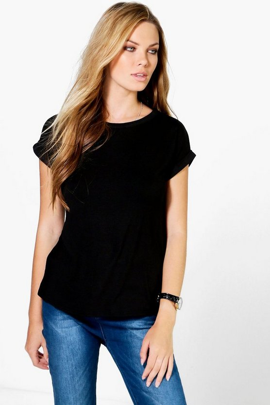 Womens Black Basic Boxy Turn Cuff T-Shirt