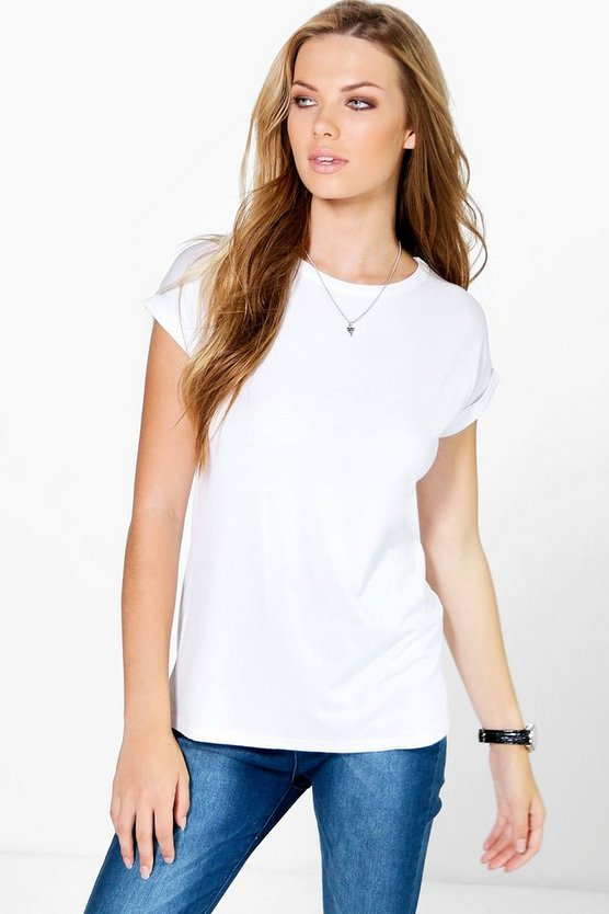 Womens White Basic Boxy Turn Cuff T-Shirt