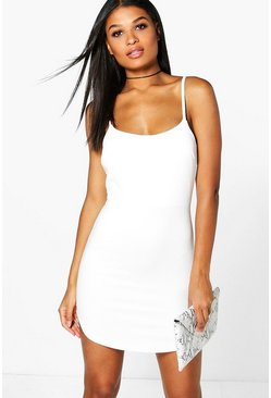 Womens White Caroline Ribbed Curved Hem Bodycon Dress