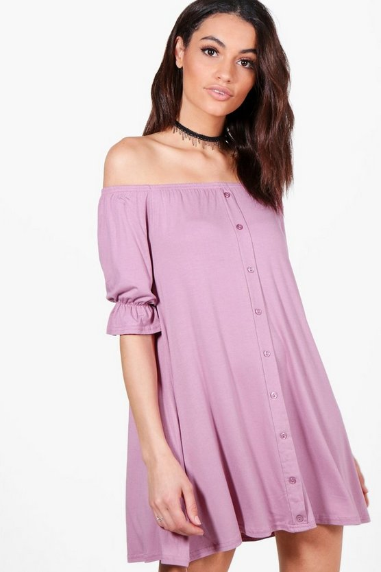 Womens Off The Shoulder Button Shift Dress