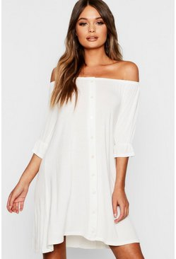 Womens White Off The Shoulder Button Shift Dress