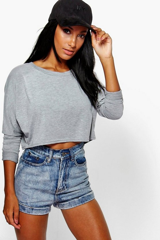 Batwing Slash Neck Crop