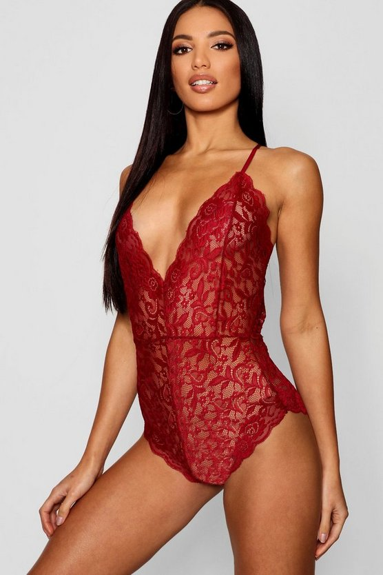 Womens Berry Strappy Scallop Edge Lace Bodysuit