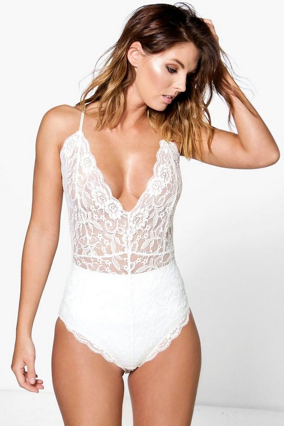 Strappy Scallop Edge Lace Bodysuit
