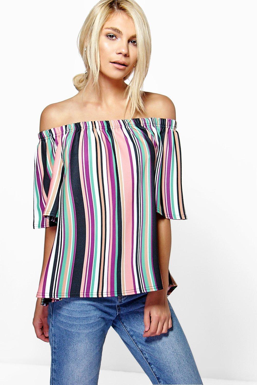 955601ca339f9 Lizzie Multi Stripe Bardot Top. Hover to zoom