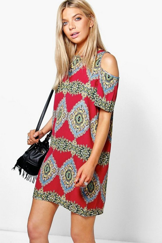 Paisley Print Cold Shoulder Shift Dress