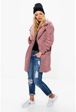 Womens Dusky pink Alice Teddy Boucle Marl Rever Collar Coat