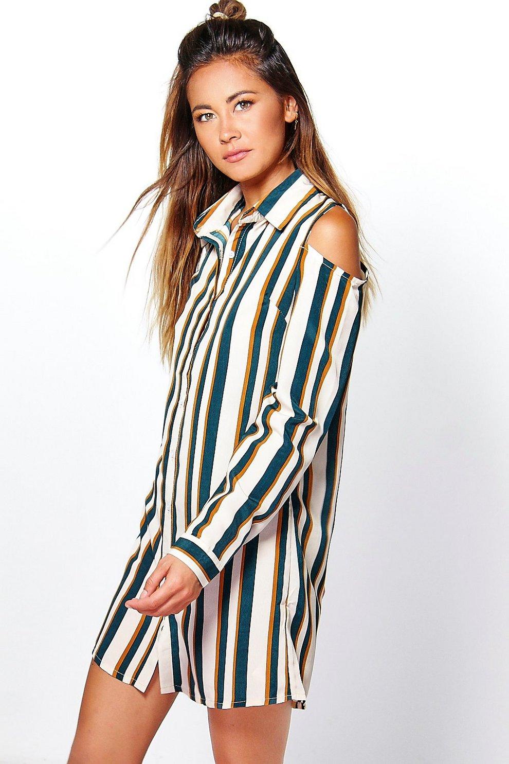 dans quelques jours 2019 meilleures ventes fréquent suki robe chemise rayée à épaules dénudées | Boohoo