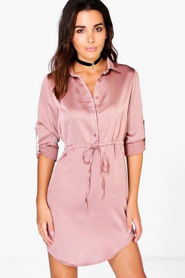 ff9d499b5815e Satin Drawstring Waist Shirt Dress | Boohoo