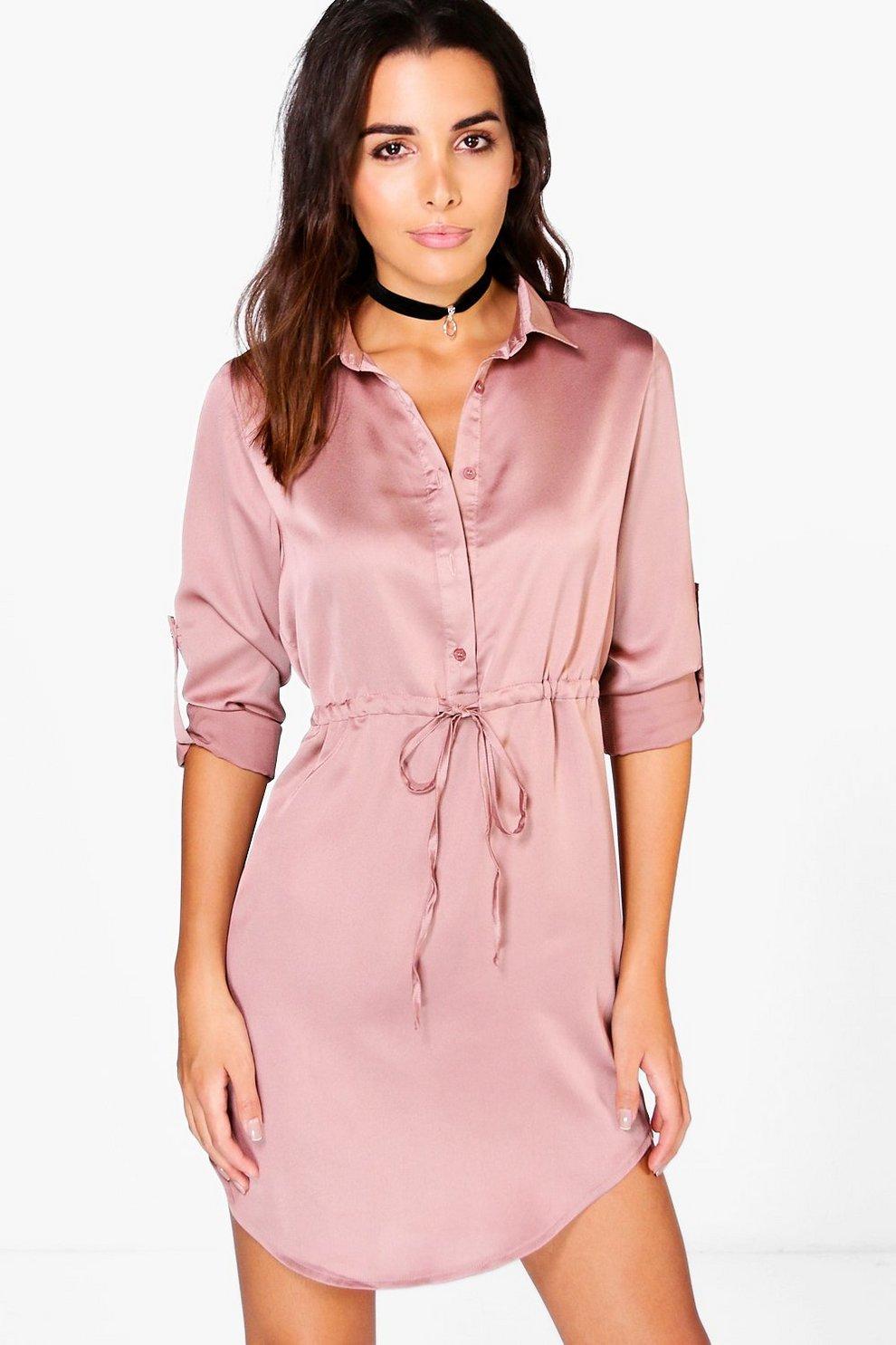 046ec4212 Vestido estilo camisa de satén con cordón ajustable en cintura
