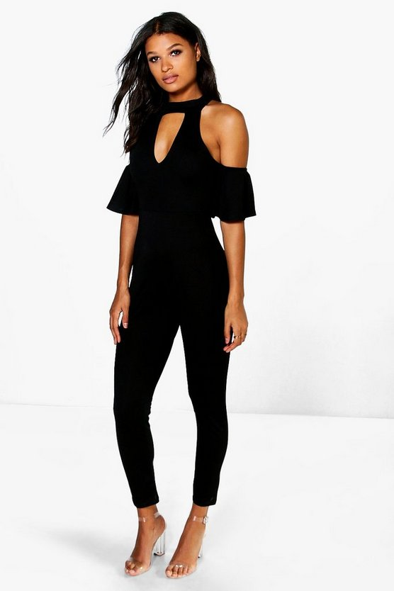 Open Shoulder Skinny Leg Jumpsuit