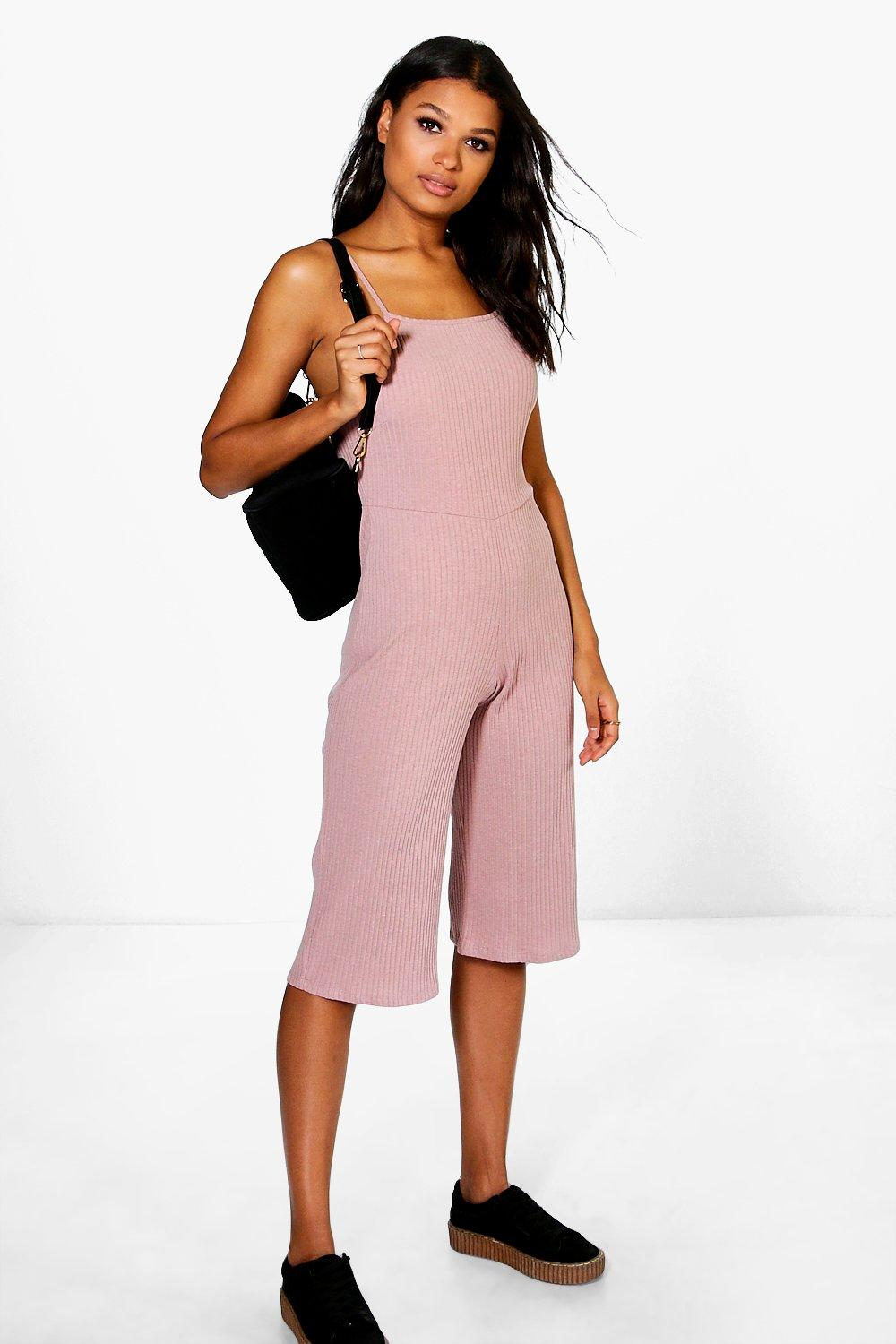 5edbcf9e03 Sarah Strappy Ribbed Culotte Jumpsuit. Hover to zoom