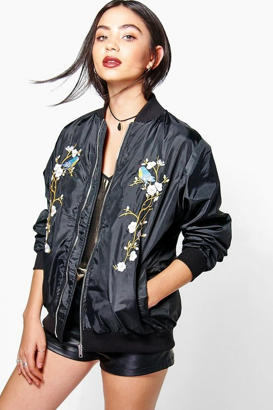 Eliza Floral Embroidered Bomber