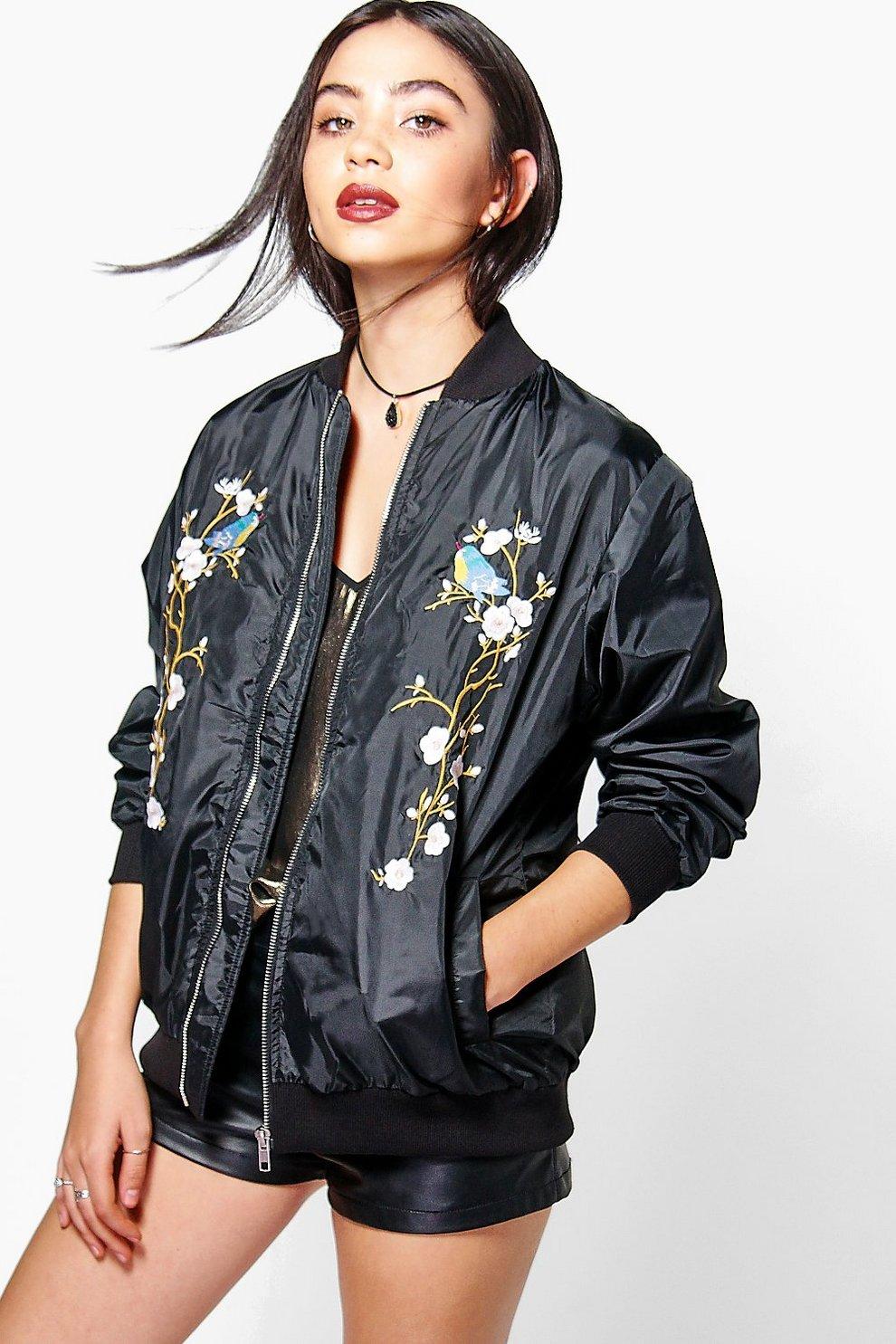 981ebd4861ef4 Eliza Floral Embroidered Bomber | Boohoo