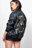 3957bddc64673 ... Womens Black Eliza Floral Embroidered Bomber alternative image ...