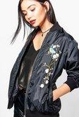 13c36b35d65fc ... Womens Black Eliza Floral Embroidered Bomber alternative image