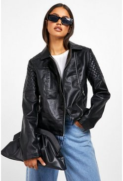 Womens Black Faux Leather Biker Jacket