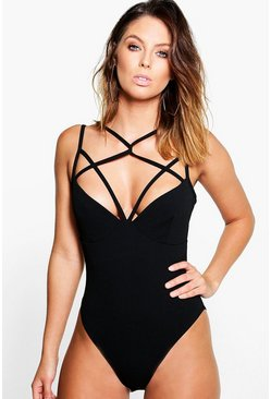 Womens Black Grace Strappy Detail Bodysuit