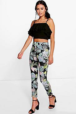Bea Palm Print Skinny Scuba Trousers