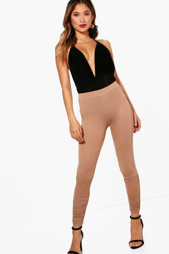 Womens Sand Pia Rouched Ankle Viscose Leggings