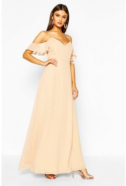 Stone Chiffon Strappy Open Shoulder Maxi Dress