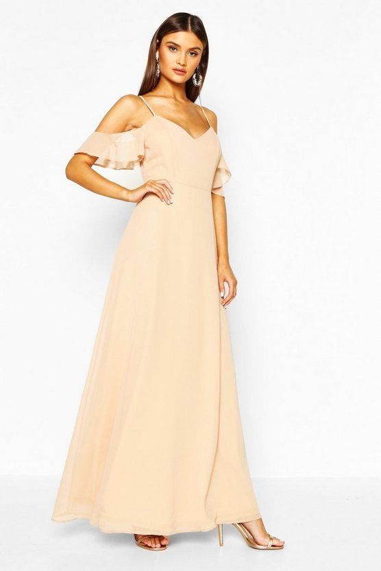 Womens Stone Chiffon Strappy Open Shoulder Maxi Dress
