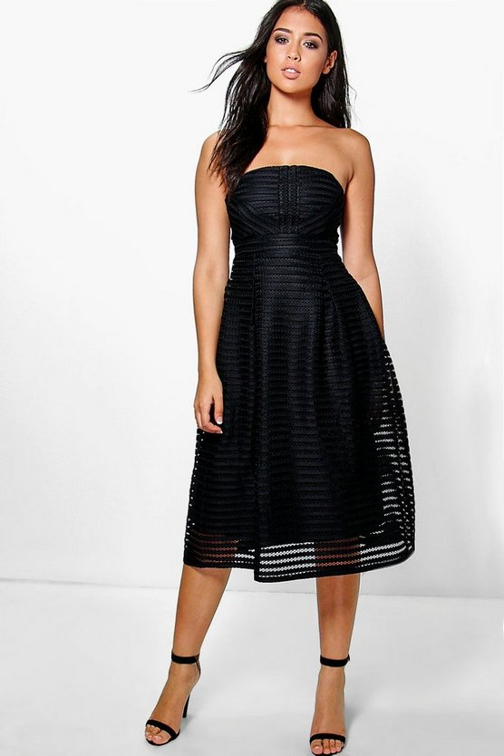 Panelled Midi Full Skirt Skater Dress